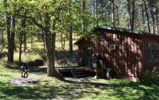 Dan Patch Cabin exterior and tire swing